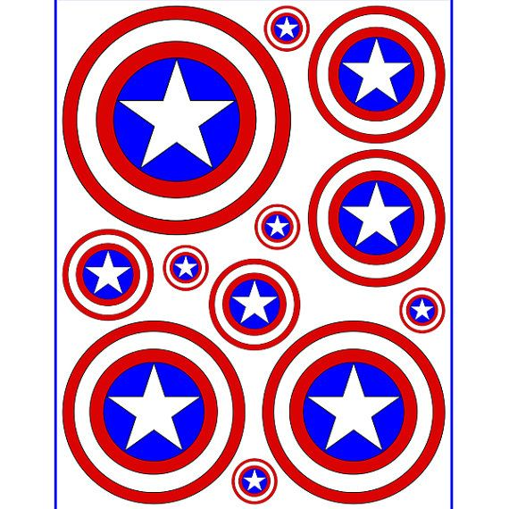 Instant Download Captain America 5 Sizes For Balloon Stickers Rh Com Shield Full Size Star Template