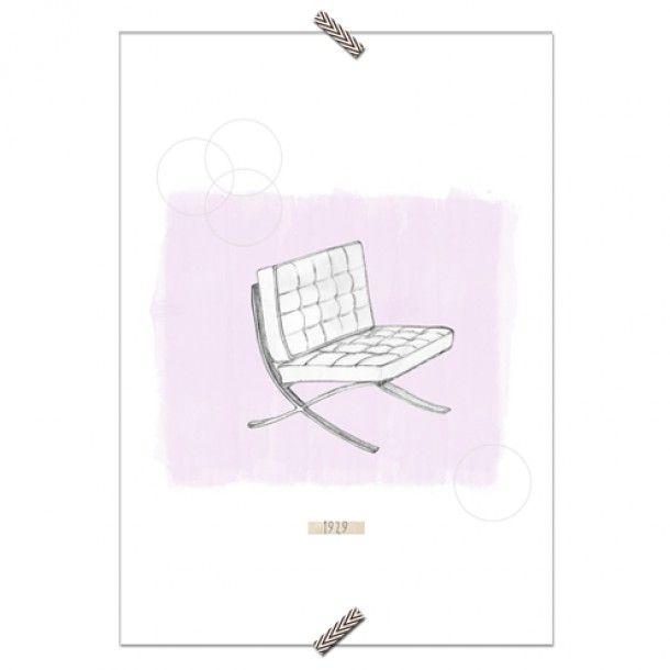 """Poster Cadeira """"Barcelona"""" - Fundo Rosa - Coleção Mercatto Casa e Apto 41"""