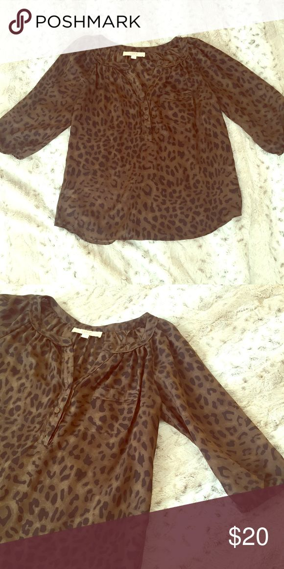LOFT Flowy 3/4 sleeve Dark Leopard Print Shirt Light, airy, flowy. This brown and black blouse is casual and office-worthy. Great with jeans to dress it down or tucked into a black skirt to dress it up. LOFT Tops Blouses