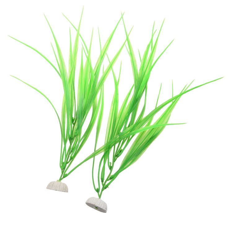 2 Pcs 10 Length Green Plastic Grass Plants for Fish Tank LW