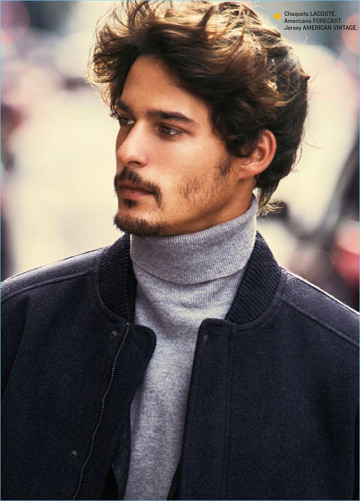 Model Edu Roman wears a Lacoste bomber jacket with an American Vintage turtleneck.