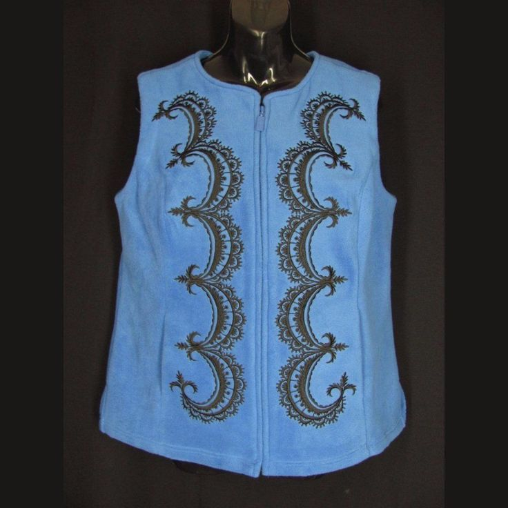 Bob mackie s m fleece vest royal blue wearable art black