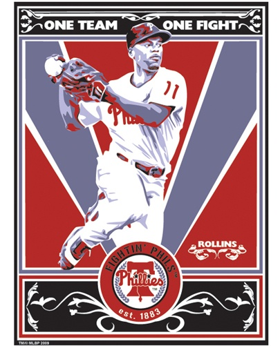 Jimmy Rollins of the Philadelphia Phillies. Hand made screen print, limited edition of 250. Signed, dated and individually numbered. Officially licensed by Major League Baseball. Art by Chris Speakman. $50: Philadelphia Philly, Screens Prints
