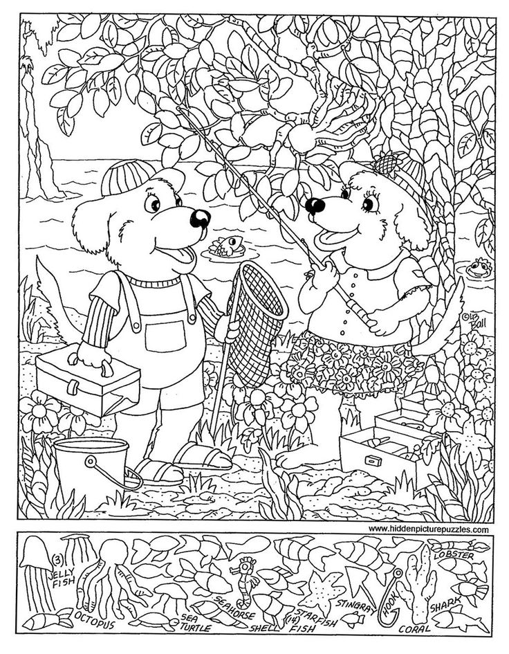 fishing hidden pictures coloring page