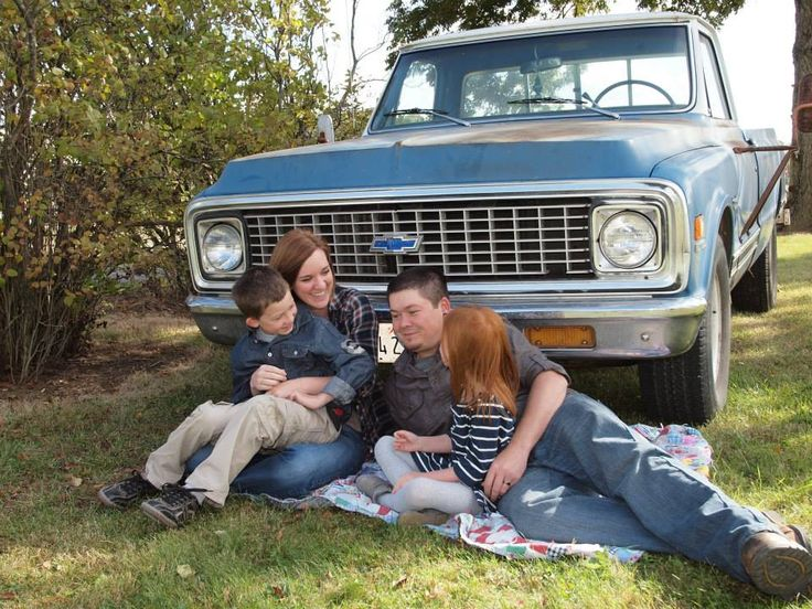 Our family pictures with my dad's old '71 Chevy truck, taken by my brother, Levi Elliott, October 2013. (family picture outfit ideas, family picture with truck, vintage family photos, country family photos)