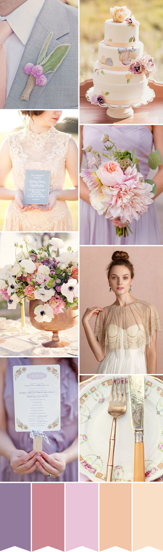 Purple and Peach Wedding Inspiration - Read More on One Fab Day http://onefabday.com/soft-purple-peach-wedding-inspiration/
