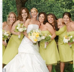 great color: Dresses Color, Color Inspiration, Chartreuse Color, Bridesmaid Dresses, Wedding Ideas, Weddings, Chartreuse Bridesmaid, Bridal Parties, Wedding Centerpieces