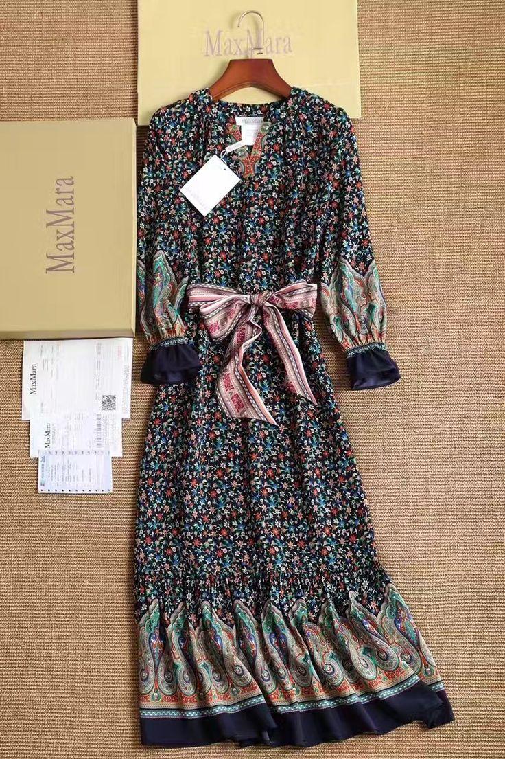 🎷Винтажное платье с поясом MaxMara Длинное платье в мелкий цветочек. Состав шелк. Размеры S M L Цена 5999 руб