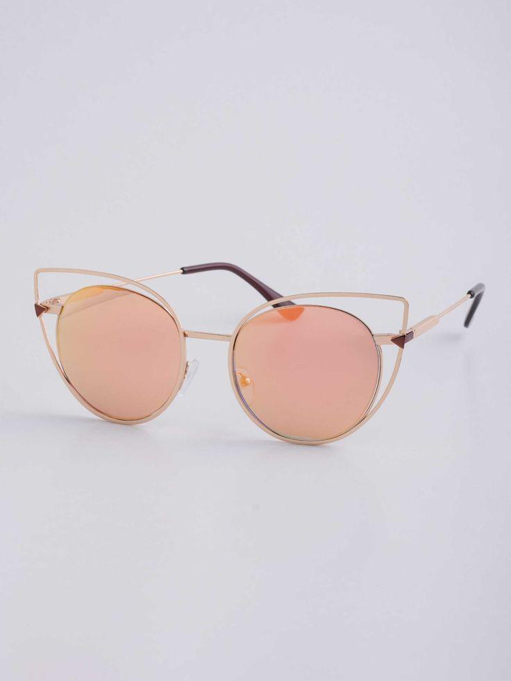 ♥ UI GAFAS (online) // $49,90 // cor desert Óculos de Sol Gatinha com Armação em Metal Vazada