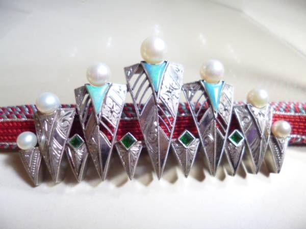 【江月】アンティーク・芝翫香 彫金オパール真珠帯留め(櫛簪)
