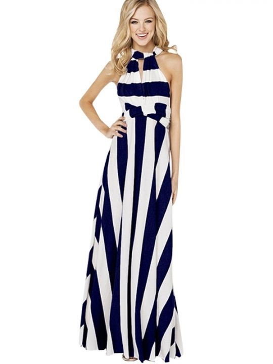 Sexy Backless Sleeveless Slim Wide Stripe Long Dress; possible dress to wear to outdoor wedding