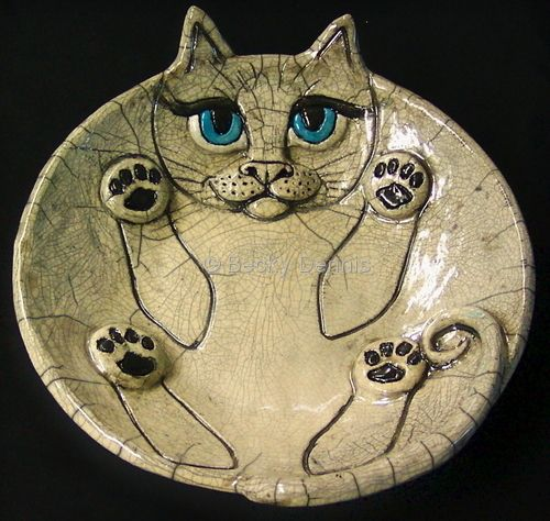 Love this - combines my love of cats and love of raku pottery .  Raku Fat Cat #1 by Becky Dennis