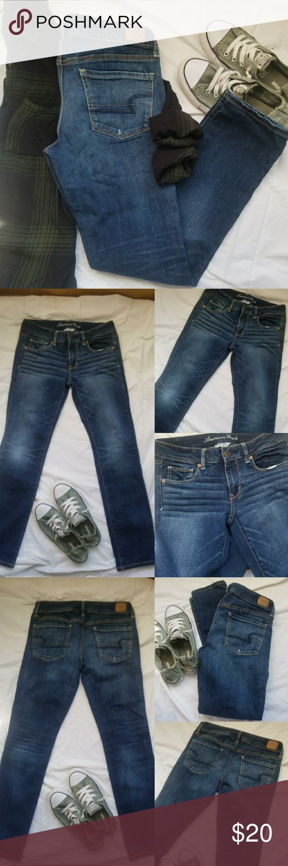 """American Eagle Skinny Jeans Last photo not of actual jeans wash but style. Shown to give the look idea Online description-The ultimate """"cool girl"""" fit made for every day. Super Stretch 