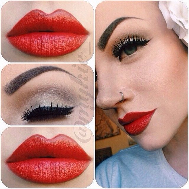 "version of the ""Old Hollywood"" look. Neutral eye with a slightly shaded crease, curvy winged liner,  and for the red lips I mixed together M.A.C. Red and Lady Danger."