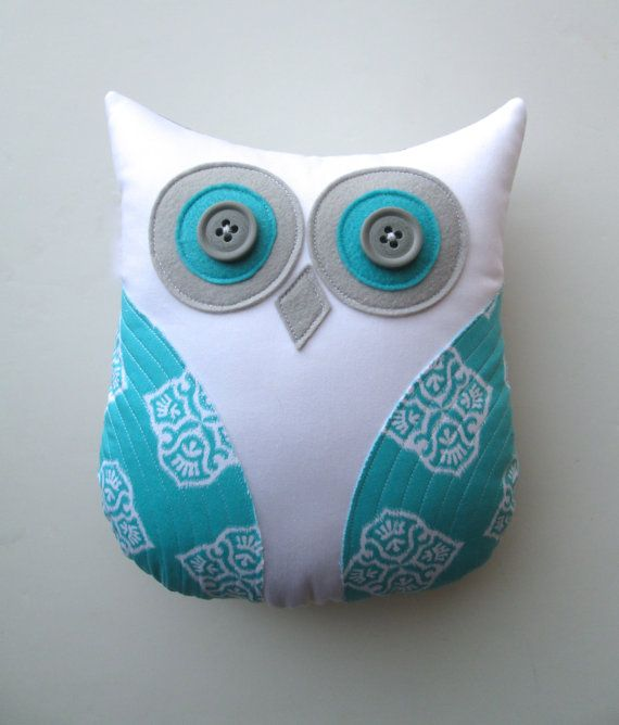 animal pillow, decorative owl pillow, aqua blue and white nursery decor by whimsysweetwhimsy, READY TO SHIP on Etsy, $36.00