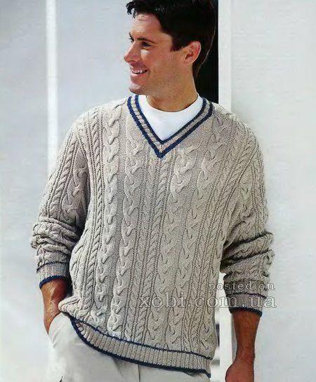 пуловер с v-образным вырезом для мужчины