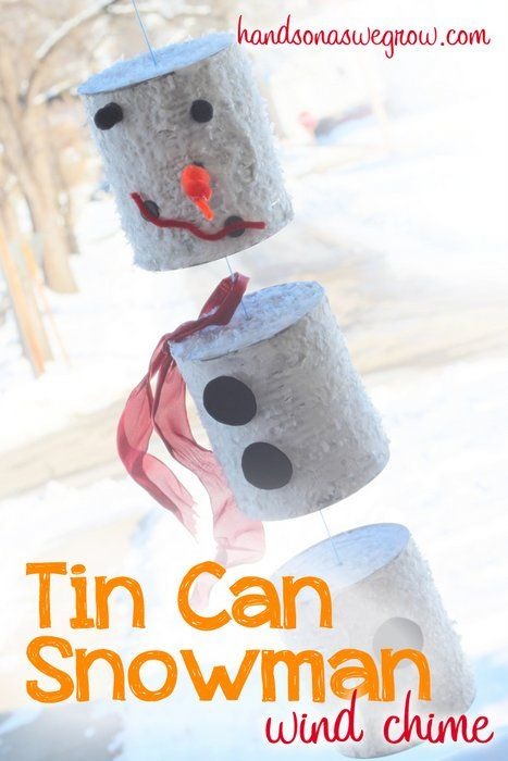 A Snowman Craft from Tin Cans! Its also a wind chime if you want it to be!