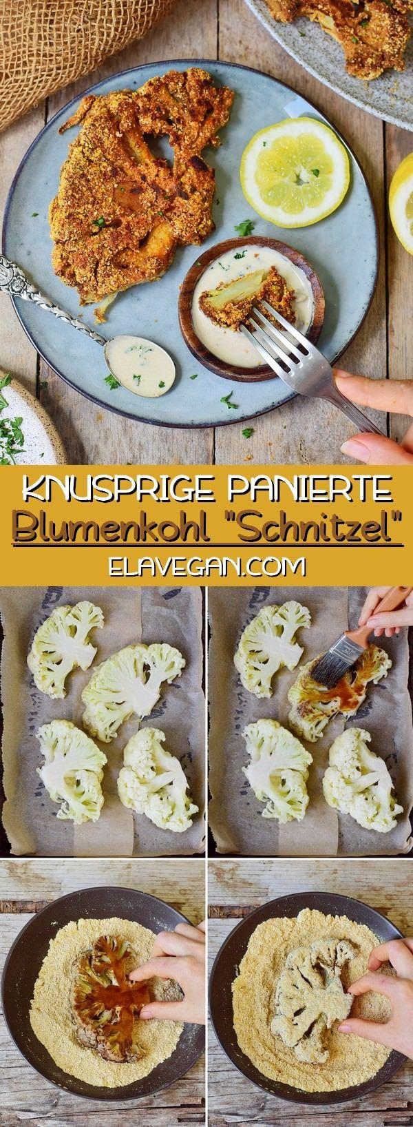 Diese knusprigen Blumenkohlschnitzel mit einer glutenfreien Panade sind ein Muss …   – veggie