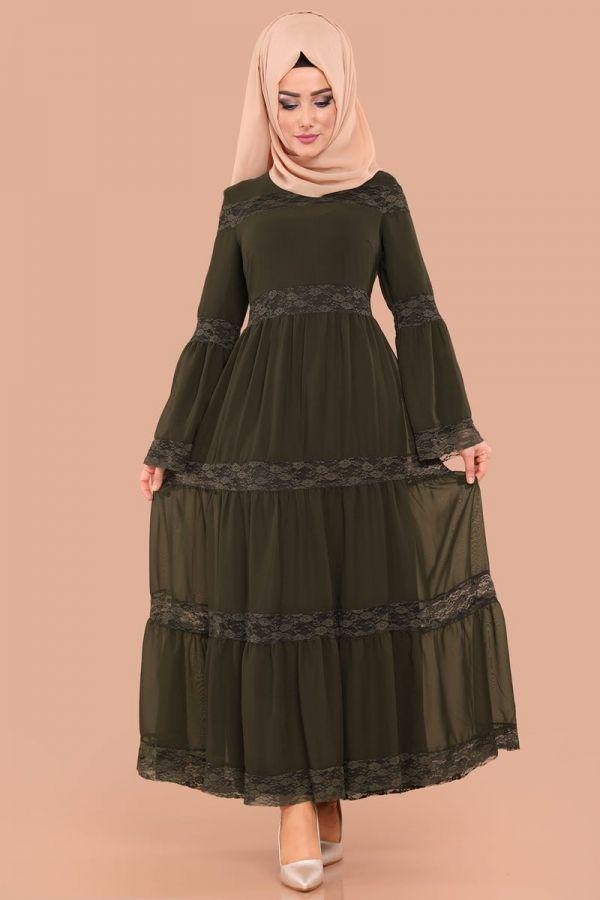 Elbise Dantelli Tesettur Elbise Knz3152 Haki Damenmode Dantelli Elbise Haki Knz3152 Di 2020 Model Baju Wanita Pakaian Wanita Model Pakaian