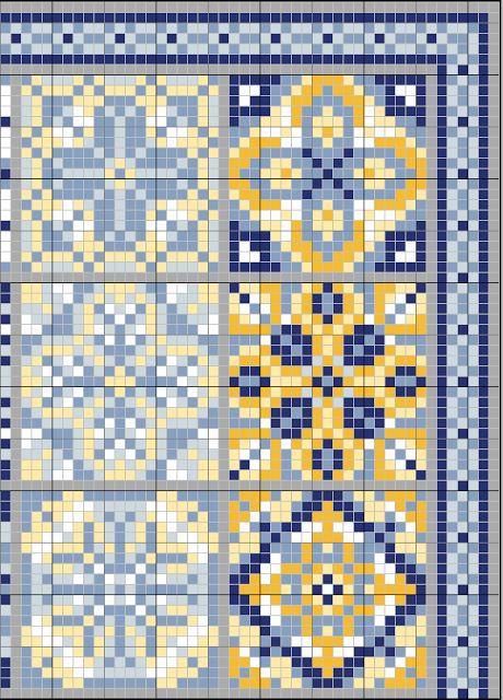 gazette94: AZULEJOS. Colors: 2x-blanc, 1x-726, 1x-3078, 2x-3753, 2x-792, 3x-3755
