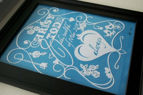 Chrisy's wedding paper cut. By Me =)