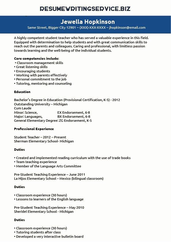 Student Teacher Resume Examples Best Of Pin By Resume Writing Service On Student In 2020 Teacher Resume Examples Elementary Teacher Resume Student Teaching Experience