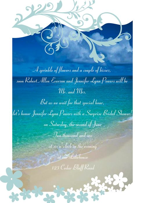 Best Bridal Shower Invitations Images On Pinterest - Beach theme bridal shower invitation template