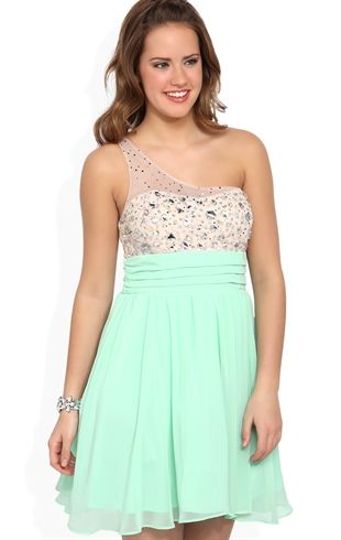 Deb Shops Illusion One Shoulder Short #Mint #Prom #Dress with Stone Bodice  $69.90