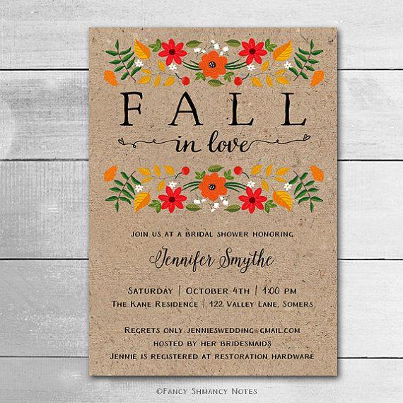 rustic fall bridal shower invitation fall in love printable invitation