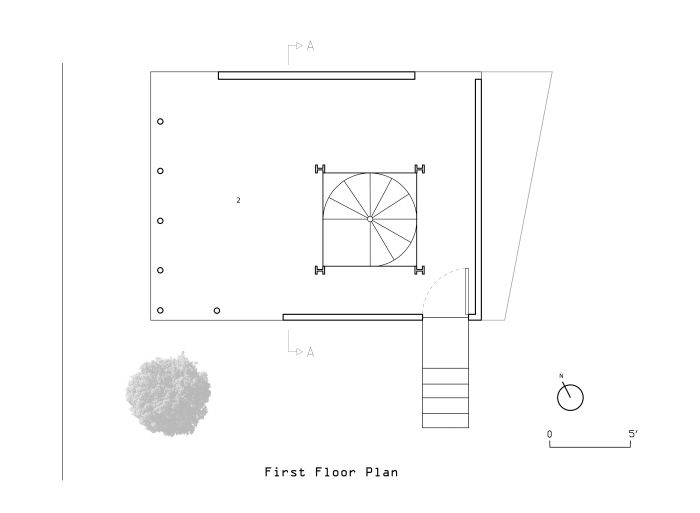 First Floor Plan - Digital Representation Project studying Kazuyo Sejima's Small House. Digital Project, Emily Adams, March 24, 2008