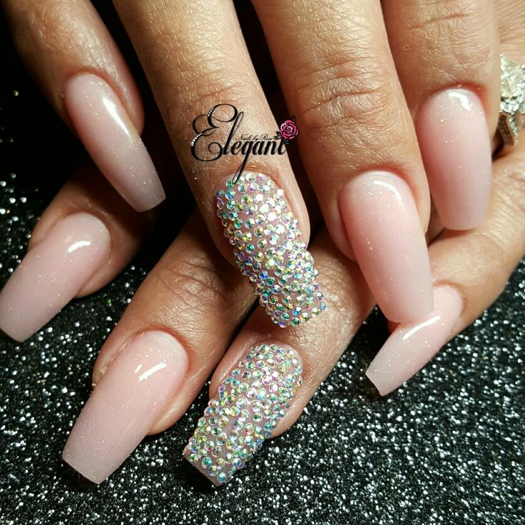 French pink acrylic sculpted nails Pave crystals