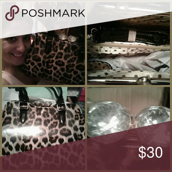 Leopard purse with jewel top Leopard purse patent material brand nee with lined interior with pockets Accessories
