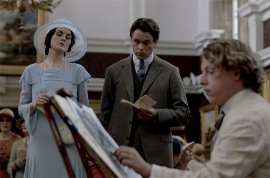 Mr Blake and Lady Mary at an exhibit