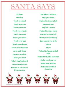 """FREE PRINTABLE """"Santa Says"""" game. Simon says with a Christmas spin, perfect for school holiday classroom parties."""