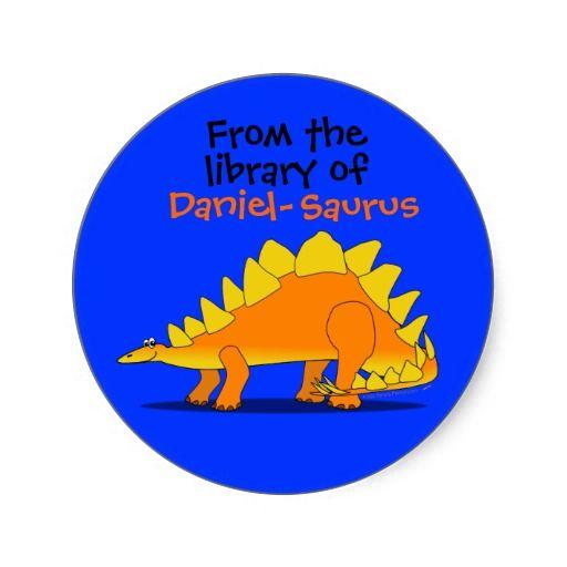 Cute stegosaurus dinosaur custom name book plate