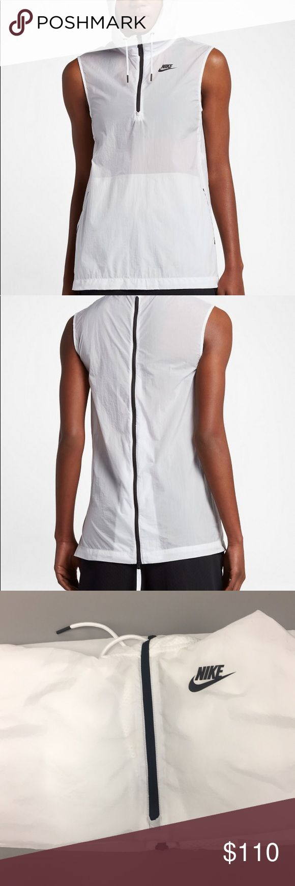 Nike Tech Hypermesh Vest The Women's Nike Sportswear Vest blends chic style with breathability where you want it. Made from smooth fabric with an iridescent shine, its neckline and back unzip to reveal mesh gussets. 1/2-length zipper reveals a mesh gusset. Side vents allow you to access the internal kangaroo pocket. Back unzips into a mesh pleat for enhanced breathability. Rubber Nike corporate logo is screen printed on the front chest. 100% nylon. Nike Tops Sweatshirts & Hoodies