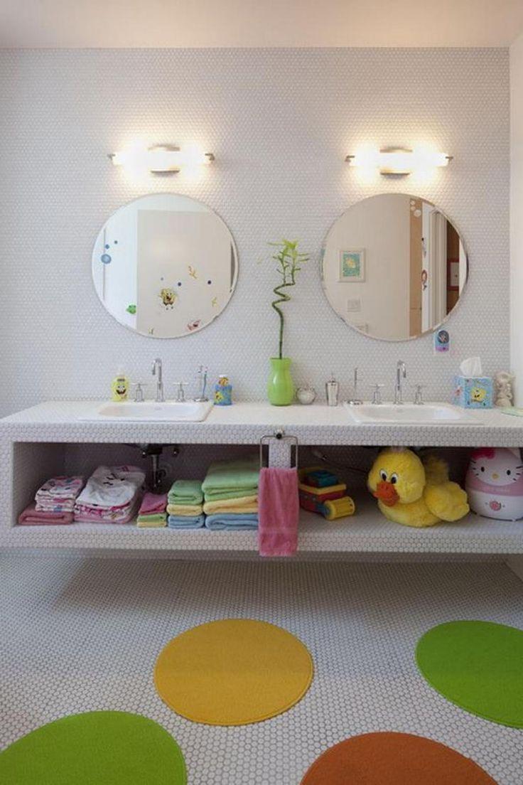 Kids Bathroom Design Nice And Sweet Colorful Rug With Soft Bathroom  Lighting Foru2026