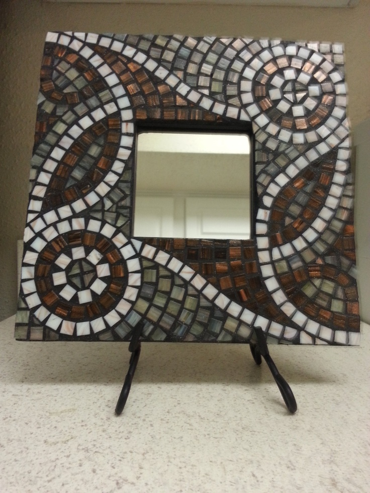 Copper Green and White Swirled Mosaic Mirror. $60.00, via Etsy.