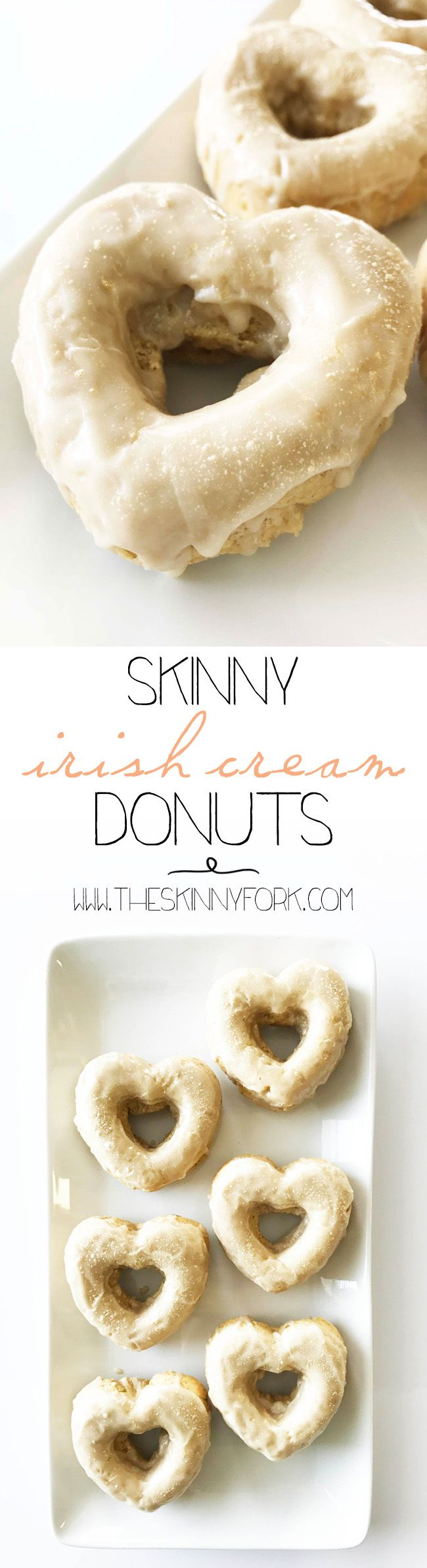 It's Thursday! The week is so close to being over. Celebrate and get ready for St. Patrick's Day with these Skinny Irish Cream Donuts! Cheers, y'all!  These donuts are perfectly baked and lightened up while still giving you that little kick of Irish cream liqueur. TheSkinnyFork.com | Skinny & Healthy Recipes