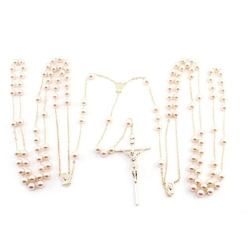 Wedding Lasso Rosary - Pearl Beads - Gold Chain
