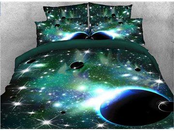 Onlwe 3D Galaxy and Celestial Body Printed 4-Piece Green Bedding Sets/Duvet Covers