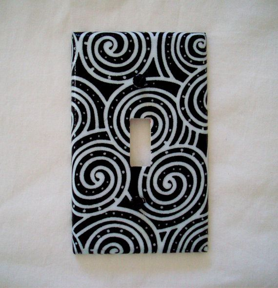 Single Light Switch Plate Cover Black and White Swirls Pattern Home Decor