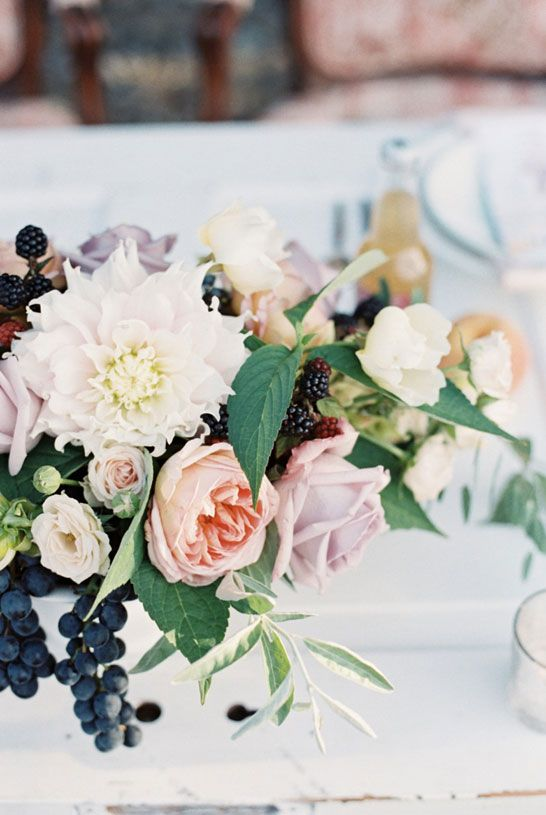 Lovely blush arrangement with navy blue accents. #wedding #floral #centerpiece: Watercolor Wedding, Floral, Dream, Weddings, Watercolour, Berries