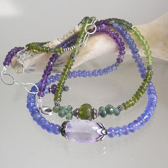 Tanzanite Necklace Short Amethyst Choker with Lavender