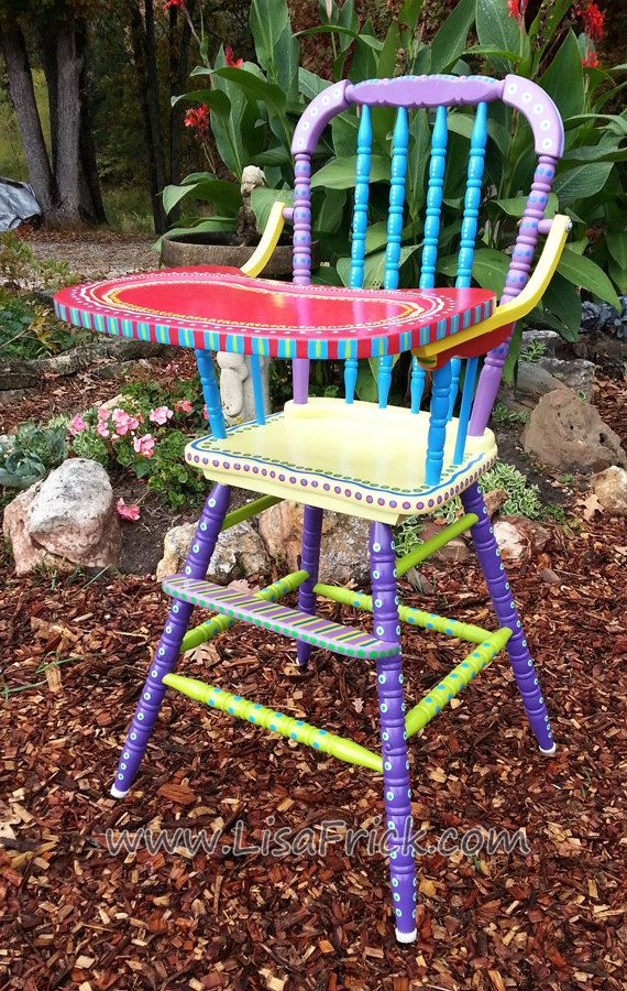 SOLD- Antique Hand Painted Colorful High Chair on Etsy, € 112,62