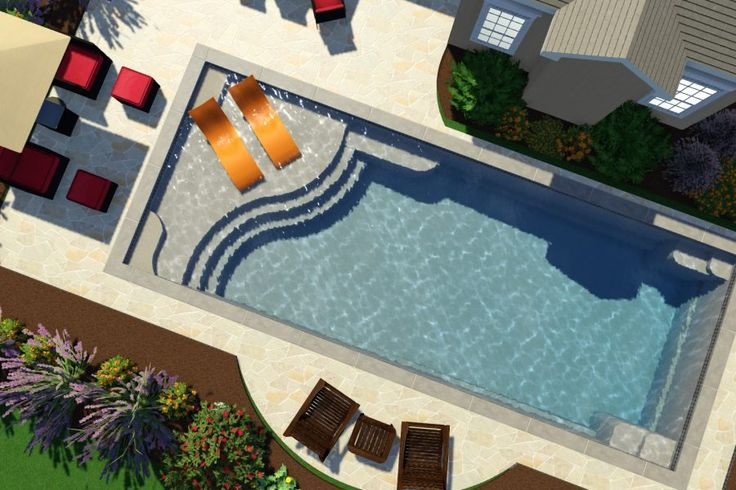 Fiberglass pool | Thursday Pools | Aspen Design | Tanning Ledge | Bench Seating | Gorgeous Curved Steps | Stunning | New Design for 2017