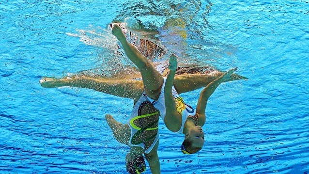 USA Synchronised Swimming duo Mary Killman and Mariya Koroleva