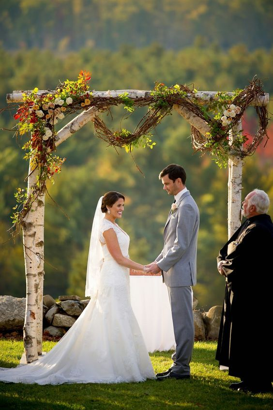 outside wedding ceremomy birch arbor / http://www.himisspuff.com/fall-wedding-arch-and-altar-ideas/4/