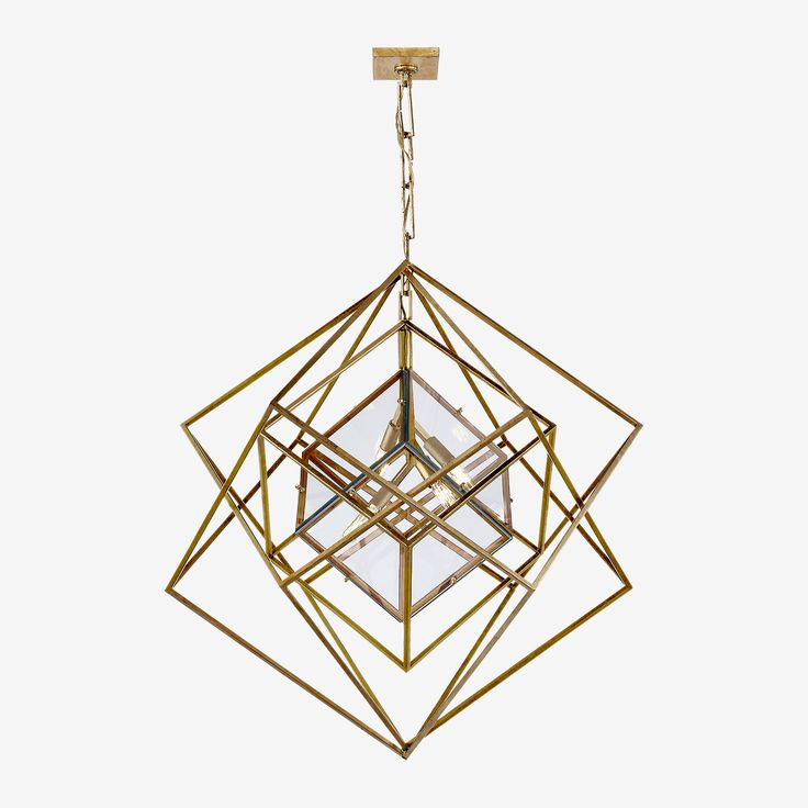 Cubist Chandelier in Gild by Kelly Wearstler • The Cubist Pendant is a modern contemporary fitting, another abstract creation by the talented Kelly Wearstler that plays upon negative space and Kelly's affinity for modernist art. This three-dimensional geometric sculpture utilises the interplay between light and shadow with a distinctive, spirited voice. Available in three sizes and finishes.