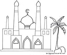 Gambar Mewarnai Masjid Lomba Pinterest Mosque Islam Dan